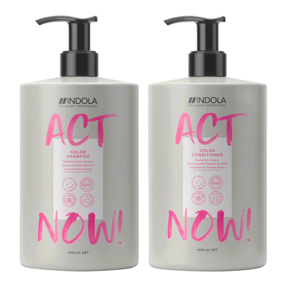 Indola Act Now Shampoo 1000ml Und Conditioner 1000ml Gefärbtes Haar