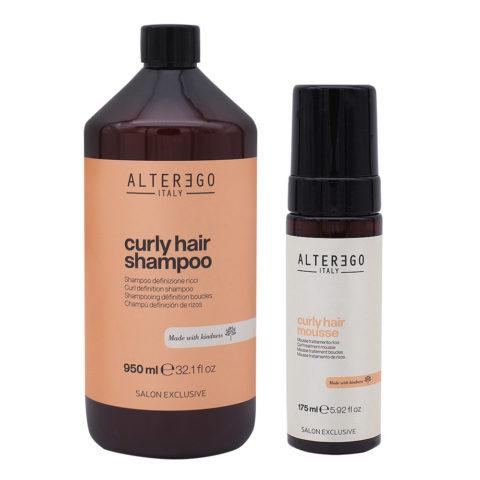 Alterego Set Lockiges Haar Shampoo 950ml und Schaum 175ml