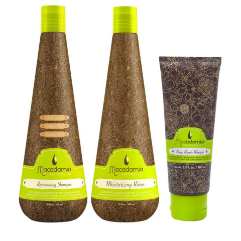 Macadamia Kit Moisturizing Shampoo 300 ml Conditioner 300ml Maske 100 ml