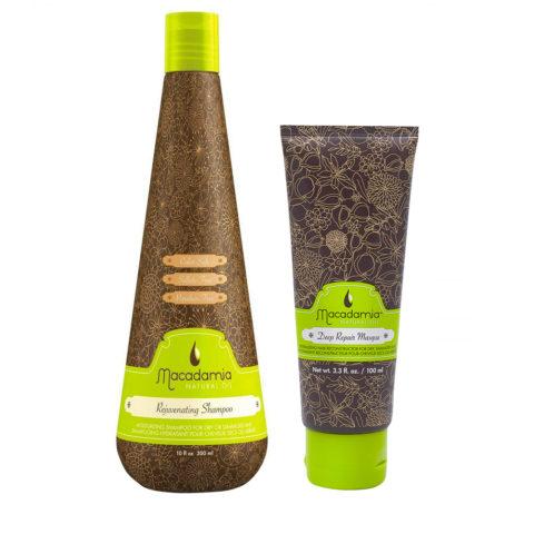Macadamia Kit Feuchtigkeitsspendend für trockenes Haar Shampoo 300ml Maske 100ml