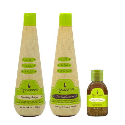 Macadamia Frizzy Hair Kit Shampoo 300 ml Conditioner 300 ml Arganöl 27ml