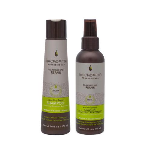 Macadamia Set Beschädigtes Haar Shampoo 300ml und Proteinserum 148ml