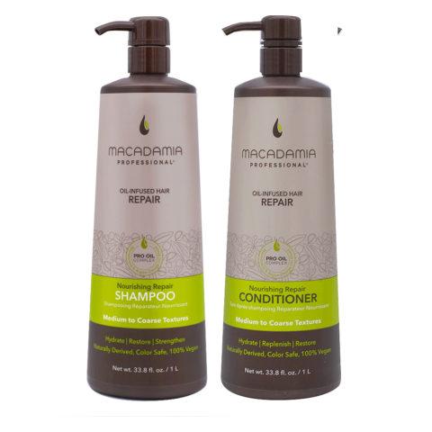 Macadamia Set Beschädigtes Haar Shampoo 1000ml und Conditioner 1000ml