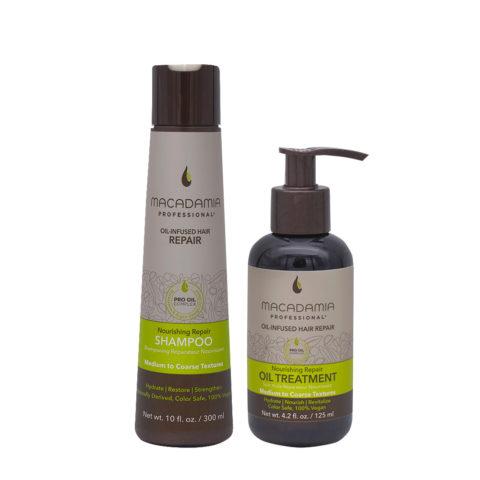 Macadamia Set Beschädigtes Haar Shampoo 300ml und Feuchtigkeitsöl 125ml