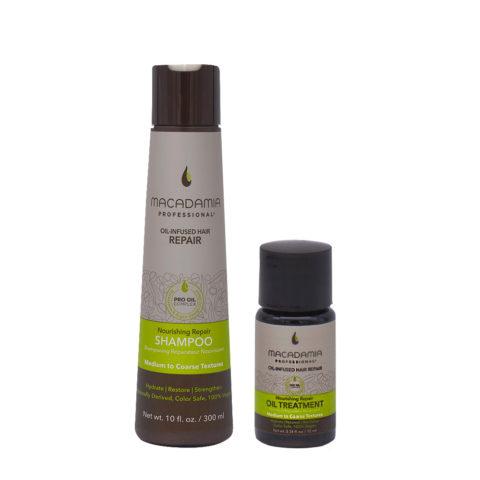 Macadamia Set Beschädigtes Haar Shampoo 300ml und Feuchtigkeitsöl 10ml