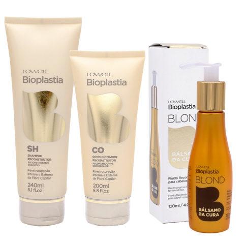Lowell Bioplastia Shampoo 240ml Conditioner 200ml Flüssigkeit 120ml für blond geschädigtes Haar