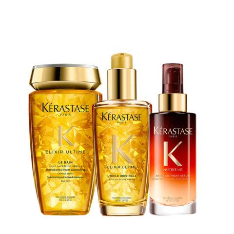 Kerastase Elixir Ultime Kit Öl-Shampoo 250ml Haaröl 100ml Overnight-Serum 90ml