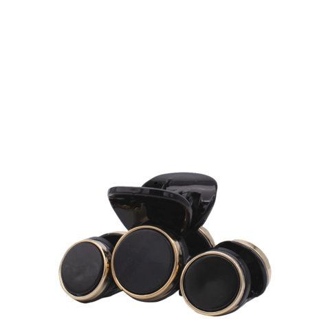 VIAHERMADA Haarspange mit 3 schwarze Steinscheiben