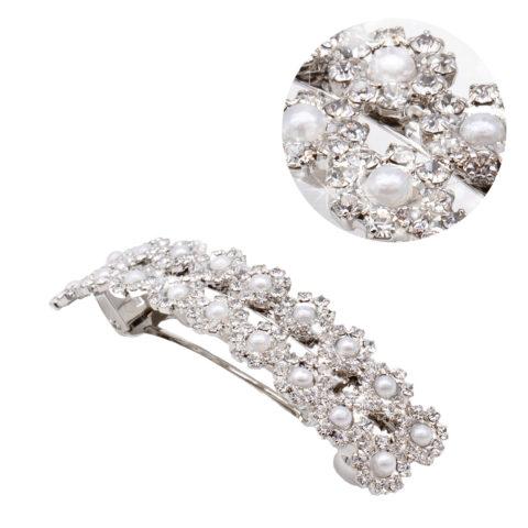 VIAHERMADA Matic Silver Haarspange mit Perlen und Strassblumen