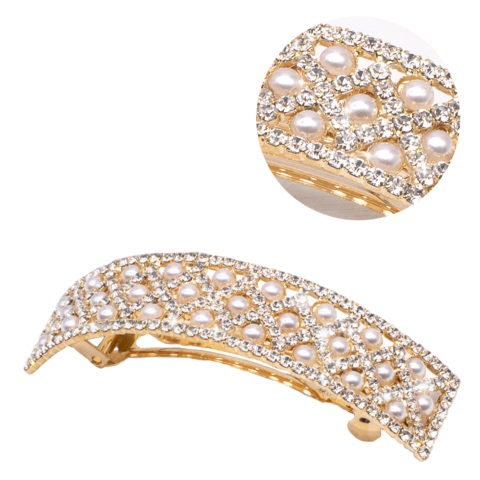 VIAHERMADA Matic Curved Gold Haarspange mit Perlen und Strass