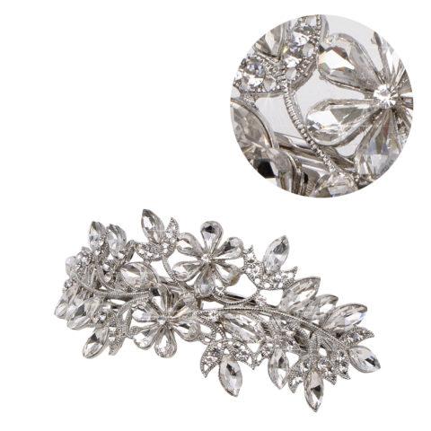 VIAHERMADA Matic Silberne Haarspange mit Kristallblumen