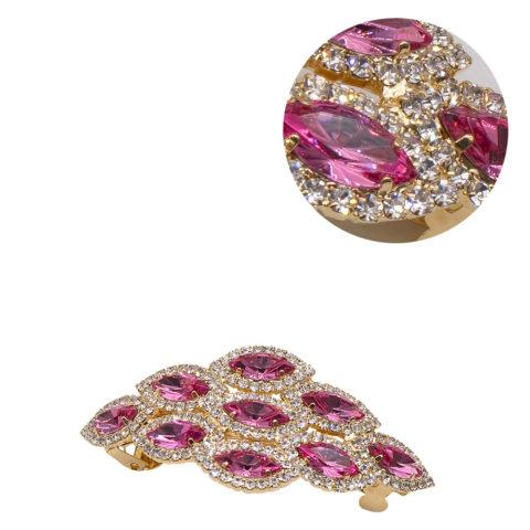 VIAHERMADA Matic Rhombus Haarspange mit rosa Steinen und Strass