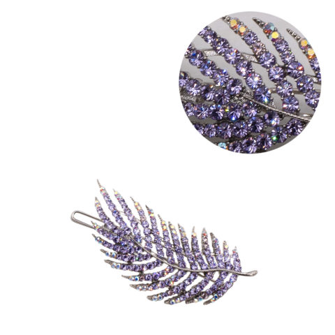 VIAHERMADA Lila Blatt Haarspange mit Strasssteinen