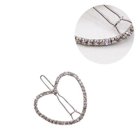 VIAHERMADA Silberne Herz-Haarspange mit Strasssteinen