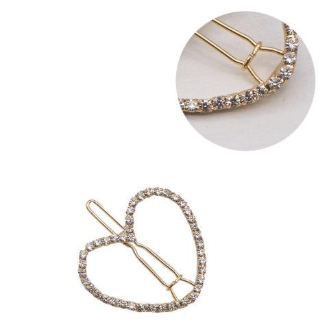 VIAHERMADA Herz-Gold-Haarspange mit Strasssteinen