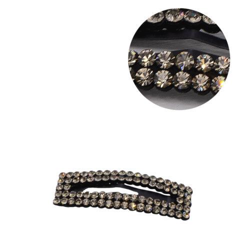 VIAHERMADA Clic Clac Haarspange mit anthrazitfarbenem Strass