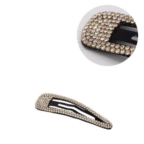 VIAHERMADA Elegante Clic Clac Haarspange mit weißen Strasssteinen