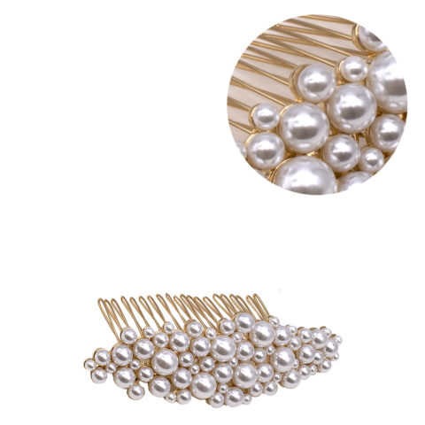 VIAHERMADA Goldkamm-Haarspange mit Perlen
