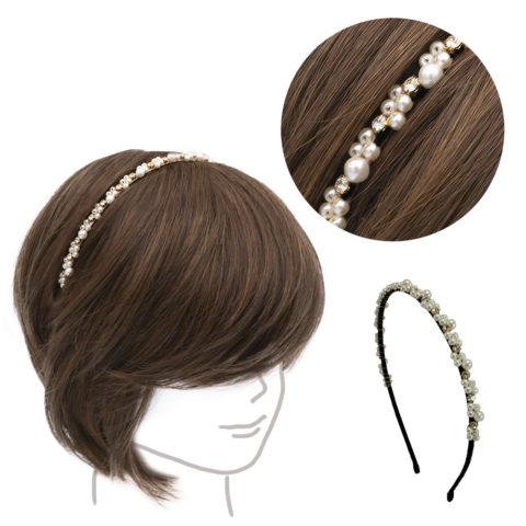 VIAHERMADA Schwarzes Haarband mit Perlen und Strasssteinen