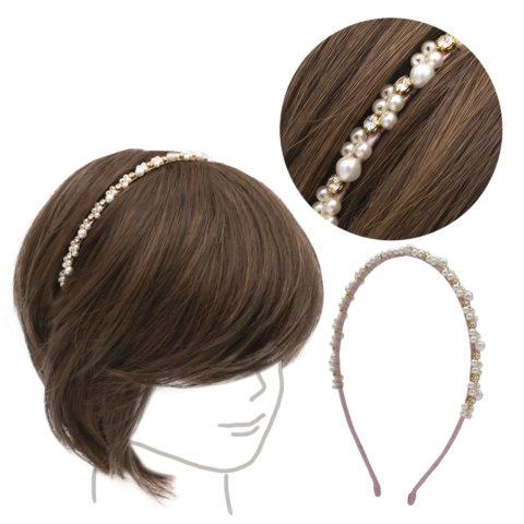 VIAHERMADA Rosa Haarband mit Perlen und Strasssteinen