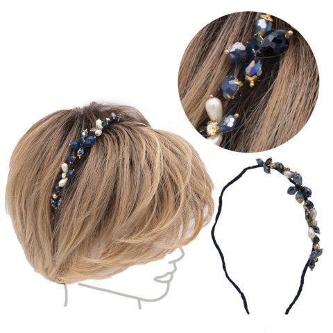 VIAHERMADA Blaues welliges Haarband mit Kristallen und Strasssteinen
