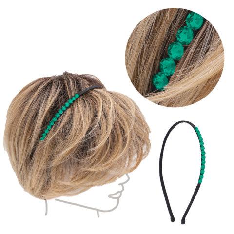 VIAHERMADA Dünnes Haarband mit grünen Kristallen