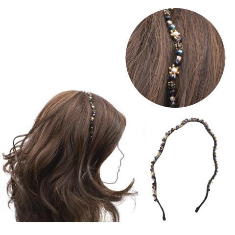 VIAHERMADA Schwarzes gewelltes Haarband mit Steinen und Strass