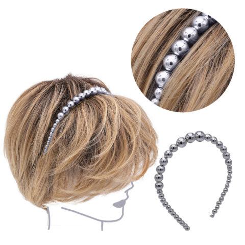 VIAHERMADA Haarband aus Metallic-Anthrazit-Perlen