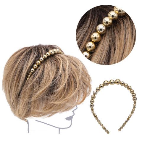VIAHERMADA Haarband mit Metallic-Goldperlen