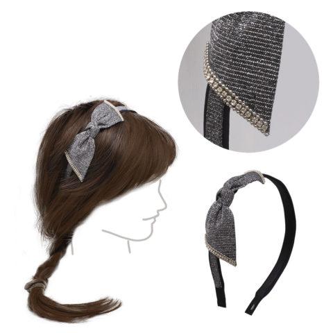 VIAHERMADA Haarband mit anthrazitfarbener Schleife und Strasssteinen