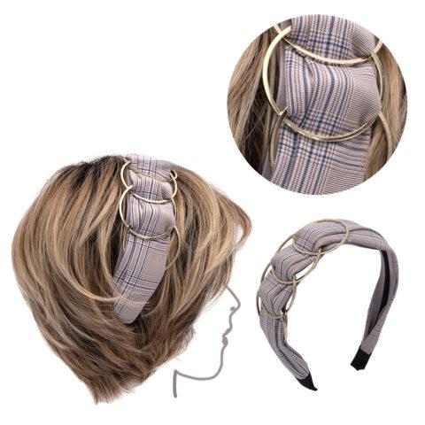 VIAHERMADA Rosafarbenes Haarband aus Schachstoff mit goldenen Metallringen