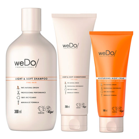 weDo Light & Soft Shampoo 300ml +Soft Conditioner 250ml + Night Cream 90ml