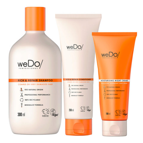 weDo Rich & Repair Shampoo 300ml + Conditioner 250ml + Night Cream 90ml