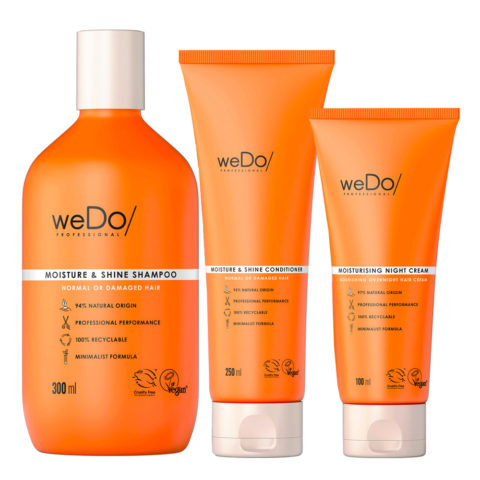weDo Moisture & Shine Shampoo 300ml + Conditioner 250ml + Night Cream 90ml
