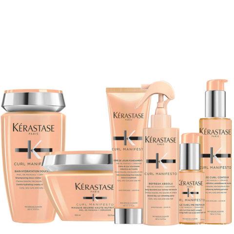 Kerastase Curl Manifesto Shampoo 250ml+Masque 200ml+ Crème 150ml+Spray 190ml + Huile 50ml + Gelée Curl150ml