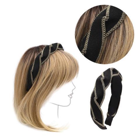 VIAHERMADA Stirnband aus geflochtenem Stoff in Schwarz und Gold