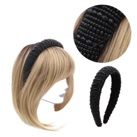 VIAHERMADA Abgerundetes Stirnband mit schwarzen Steinen und Stress