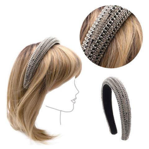 VIAHERMADA Abgerundetes Stirnband mit Ketten und silbernen Strasssteinen