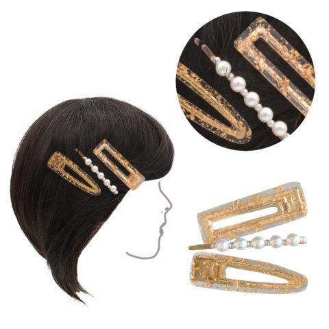 VIAHERMADA Set aus drei Clips aus goldenem Metall und 6cm Perlen