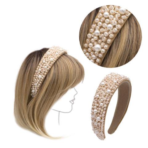 VIAHERMADA Haarreif aus beigem Wildleder mit Perlen und Steinen