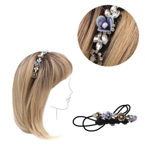 VIAHERMADA Elastisches Stirnband mit Strasssteinen und Kristallen