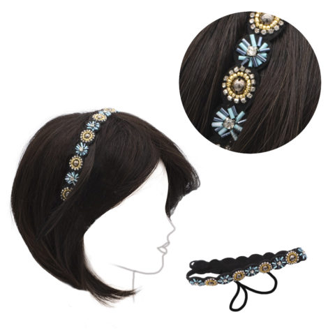 VIAHERMADA Stirnband mit Perlen und Kristall Strasssteinen