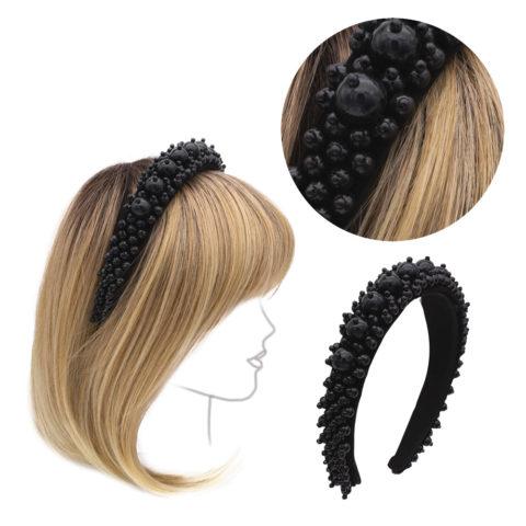 VIAHERMADA Stirnband aus Wildleder mit Stein und schwarzen Perlen überzogen