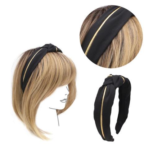 VIAHERMADA Schwarzes Stirnband mit vorderer Knotenbeschichtung
