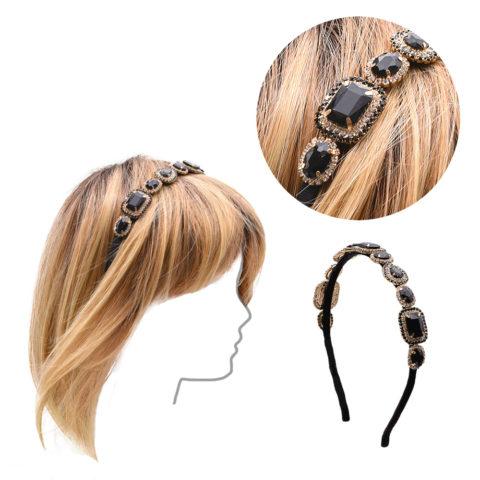 VIAHERMADA Schwarzes Grosgrain-Stirnband mit Kristallen und Edelsteinen