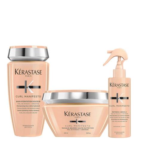Kerastase Curl Manifesto Kit Bain Doux Hydratant 250ml  Masque Beurre Nourrissant 200ml Refresh Absolu 190ml