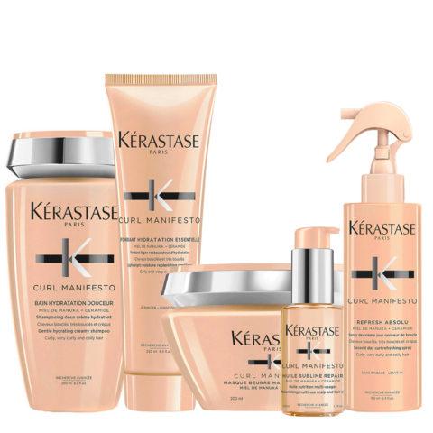 Kerastase Curl Manifesto Kit Lockiges Haar Shampoo250ml Maske200ml Conditioner250ml Öl50ml Spray190ml