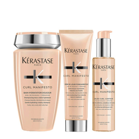 Kerastase Curl Manifesto Kit Lockiges Haar Shampoo250ml Creme150ml Creme-Gel150ml