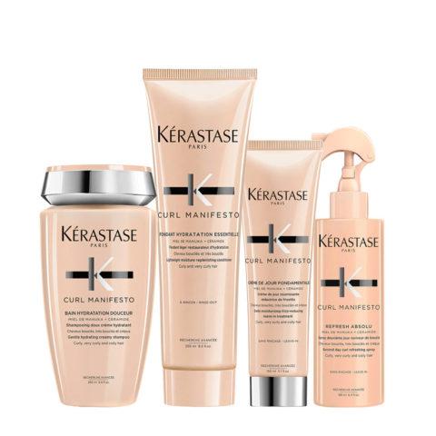 Kerastase Curl Manifesto Kit Lockiges Haar Shampoo250ml Conditioner250ml Creme150ml Spray190ml