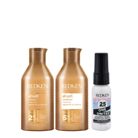 Redken All Soft Kit Shampoo 300ml Conditioner 300ml  One United All in one spray 30ml